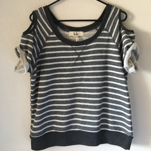 a24ebd68b656b lola Tops - Lola cold shoulder striped terry workout top